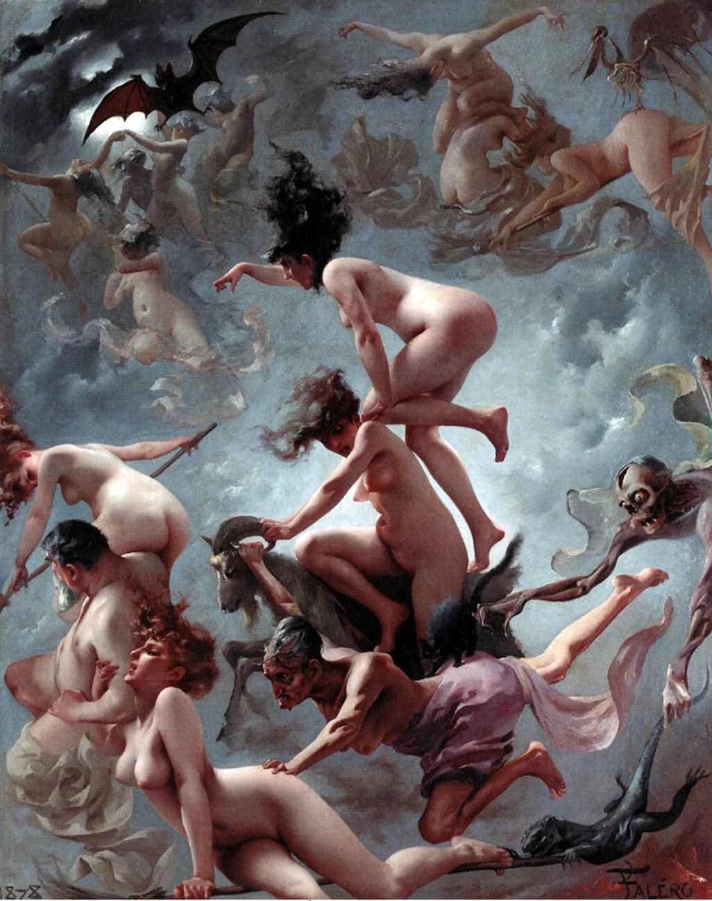 Cuerpos de brujas desnudas volando. Arte erótico de Luis Ricardo Falero
