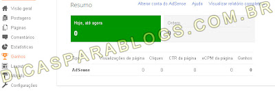 ver ganhos do adsense no blogger