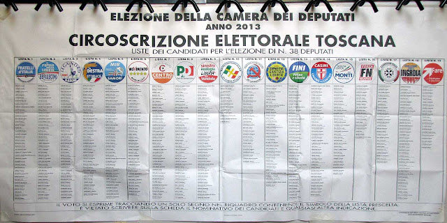 Camera lists poster, Election 2013, Livorno