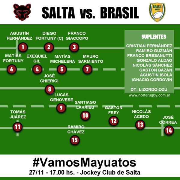 Formación de Los Mayuatos confirmados para recibir a Brasil