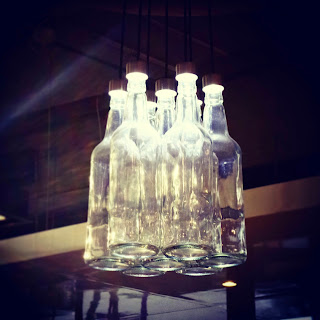 Water Bottles used as light fitting