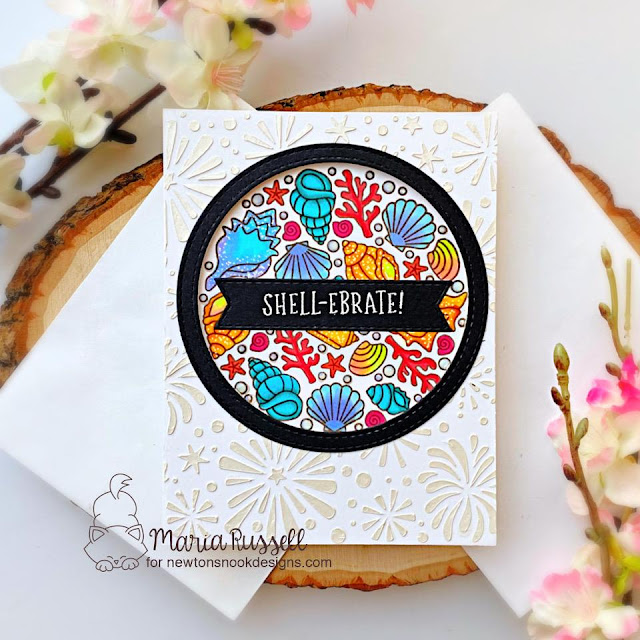 Seashell card by Maria Russell | Seashell Roundabout Stamp Set, Fireworks Stencil, Banner Trio Die Set and Circle Frames Die Set by Newton's Nook Designs #newtonsnook