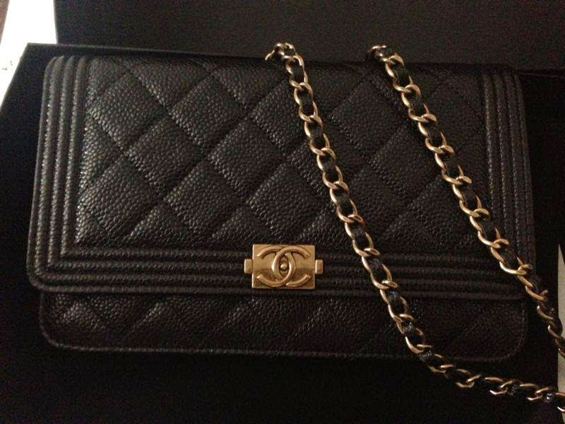 abf0870ad31b Chanel Le Boy WOC (Wallet on Chain) in Caviar Black with Gold Hardware