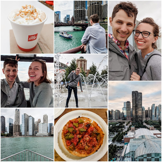 Photo Collage of Allison and Colin in Chicago, IL