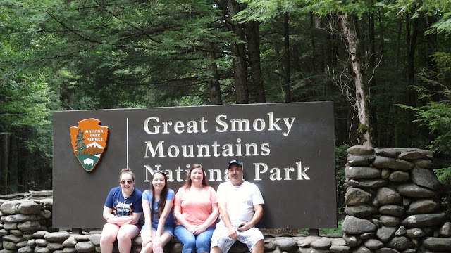 Family photo at the Great Smoky Mountains National Park
