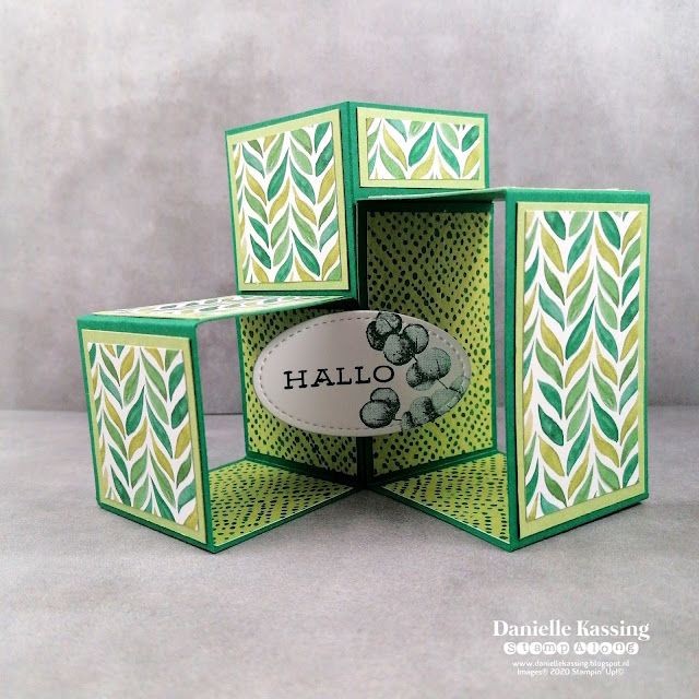 Stampin' Up! 3D Cube Pop Up Box Card - Forever Greenery