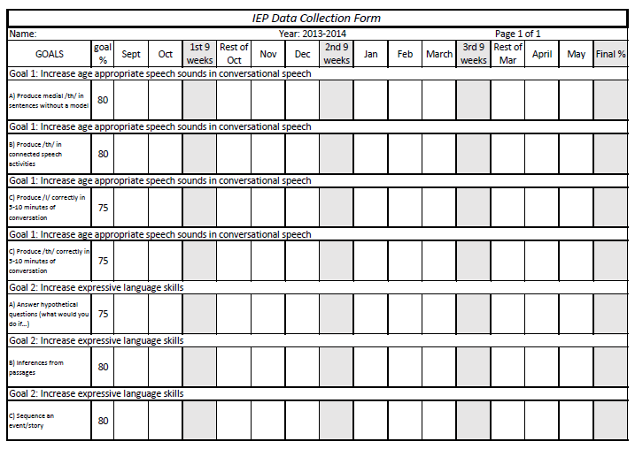 It's just an image of Bewitching Printable Iep Goal Tracking Sheets