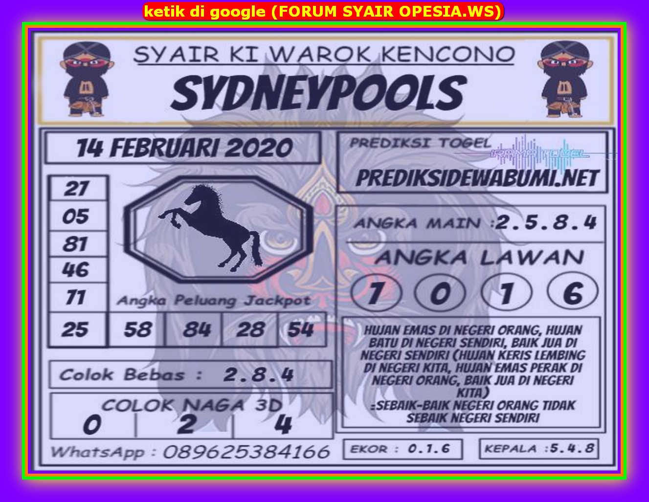 Kode syair Sydney Jumat 14 Februari 2020 118