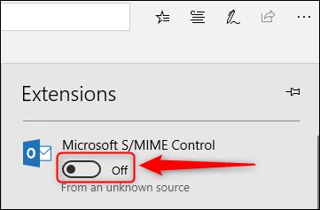 مفتاح تبديل تشغيل / إيقاف التحكم S / MIME.