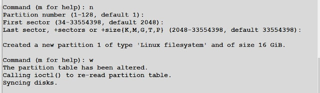 create partition using fdisk