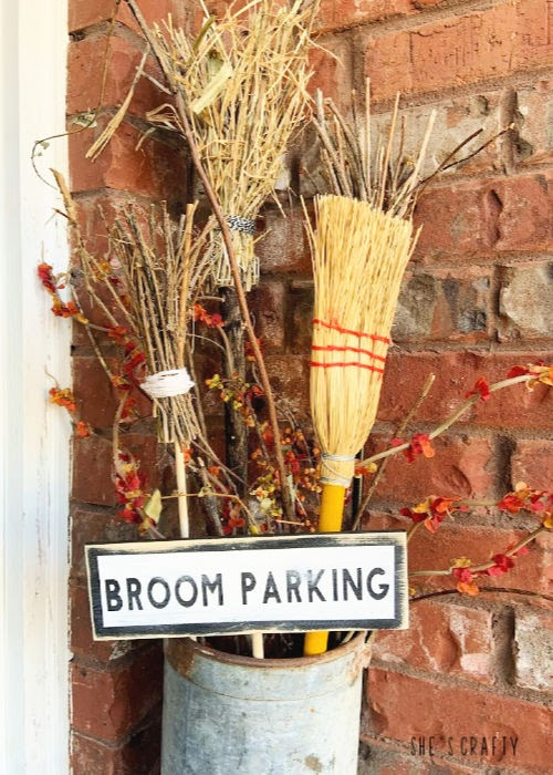 Halloween Home Tour - broom parking with diy twig brooms  |  She's Crafty
