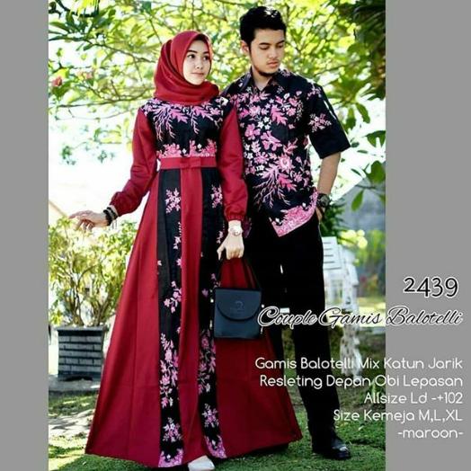 Batik Couple Model Baju Gamis Batik Kombinasi Kain Polos 2019 Terbaru Inspirasi