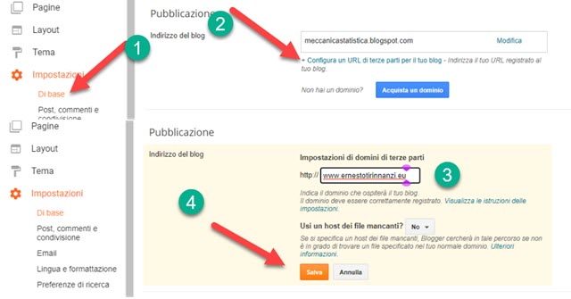 redirect di blog su blogger verso un dominio personalizzato