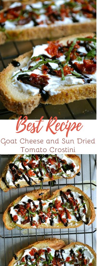 Goat Cheese and Sun Dried Tomato Crostini #vegan #recipevegetarian