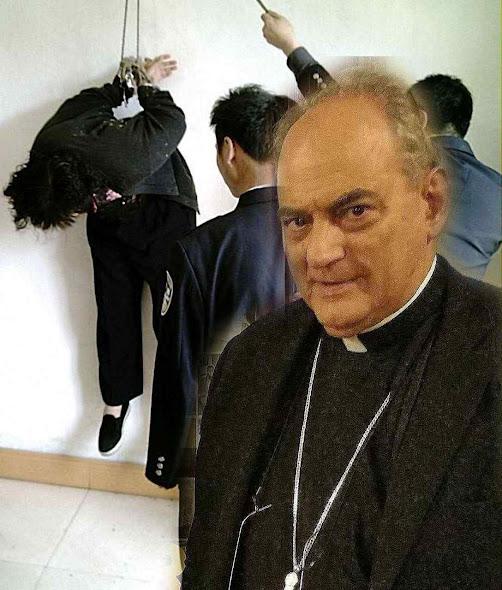 Fotomontagem com Mons. Sánchez Sorondo ilustra torturas durante o acordo Pequim-Vaticano