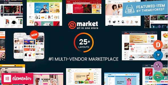 eMarket - Multi Vendor MarketPlace Elementor WordPress Theme (25+ Homepages & 3 Mobile Layouts) - WooCommerce eCommerce