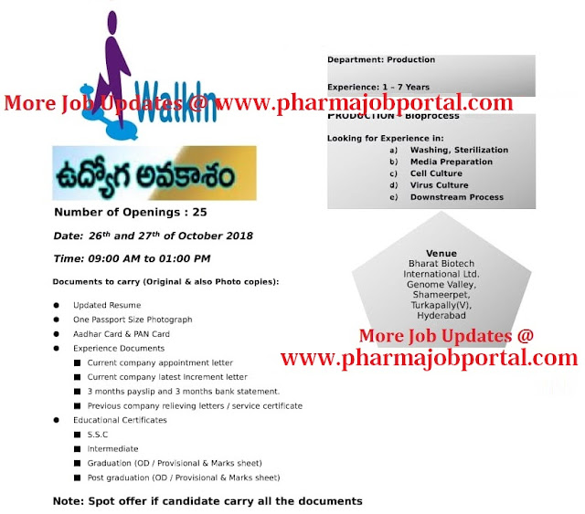 BHARAT BIOTECH Walk-In Interviews For Multiple Positions at 26 & 27 Oct