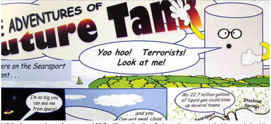 A Portion Of A Satirical Comic Circulated By Opponents At A Recent Rally Shows The Tank Looming Over Penobscot Bay