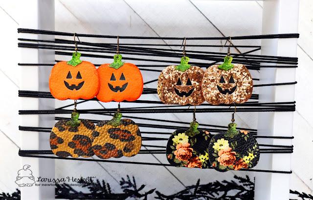 Halloween Earrings by Larissa Heskett | Pick-a-pumpkin Die Set by Newton's Nook Designs #newtonsnook #handmade