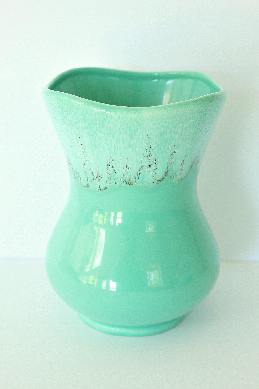 Vintage Mint Aqua Pottery Vase