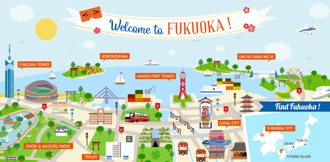 Fukuoka illustrated map