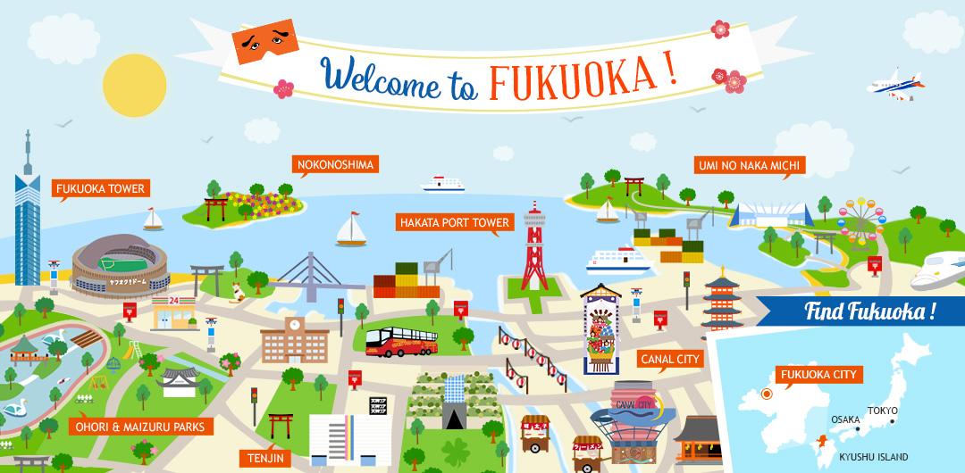 Fukuoka illustrated map