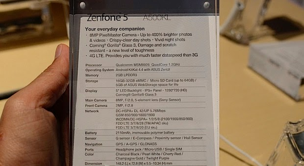 Zenfone 5 4G LTE Specifications ~ Asus Zenfone Blog News