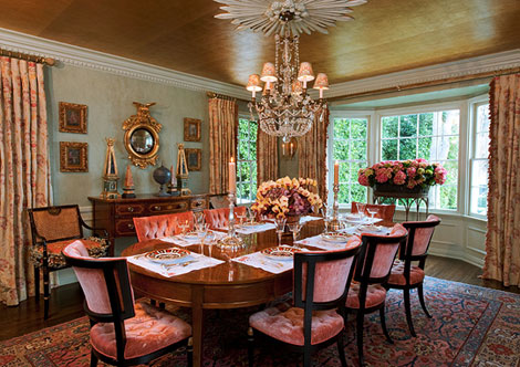 Hollywood Glam Rules In The Dining Room With A Gold Leaf Ceiling And Chairs Designed By Billy Haimes Covered Clarence House C Velvet