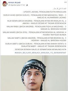 Jadwal Kajian Rutin Mingguan Ustadz Arman Aryadi, S.HI (Update)