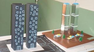 maquetas de las torres gemelas elaboradas en cartulina