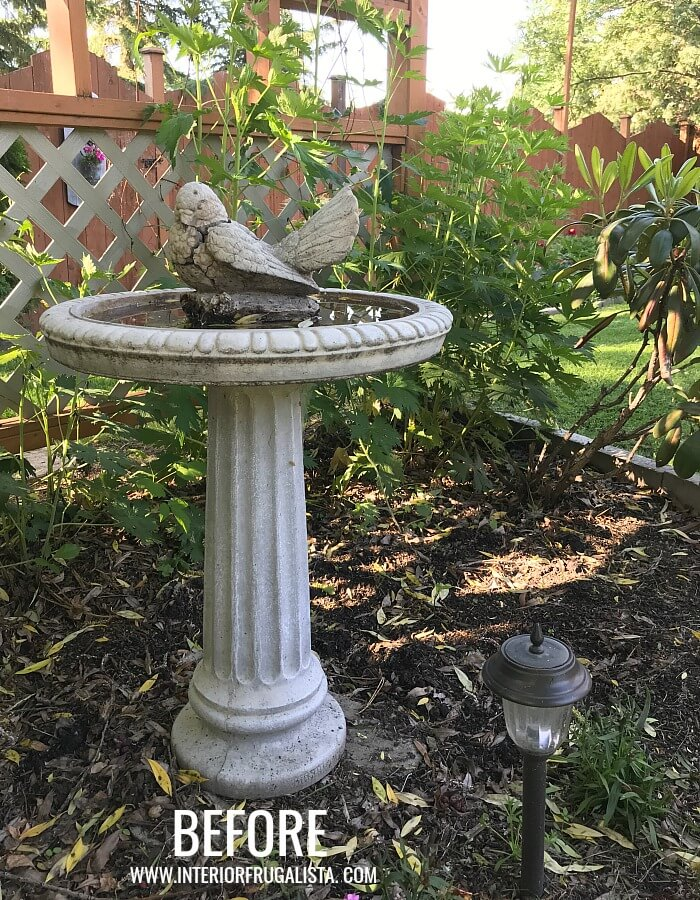 A DIY Faux Concrete Bird Bath Topper and how to make the resin finial look just like the real concrete bird bath it's mounted on with layers of paint.