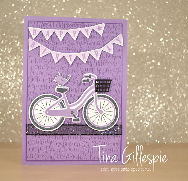 scissorspapercard, Stampin' Up!, Art With Heart, Colour Creations, Ride A bike, Pick A Pennant, Handwritten, Picture Perfect Birthday, Build A Bike Framelits