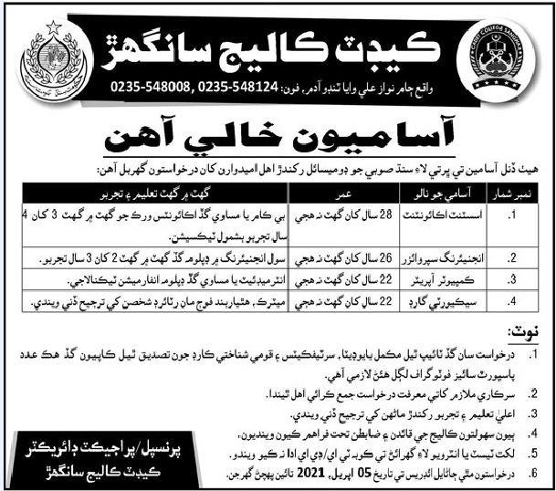 Latest Cadet College Sanghar Jobs 2021 For Assistant Accountant, Engineering Supervisor, Computer Operator & more