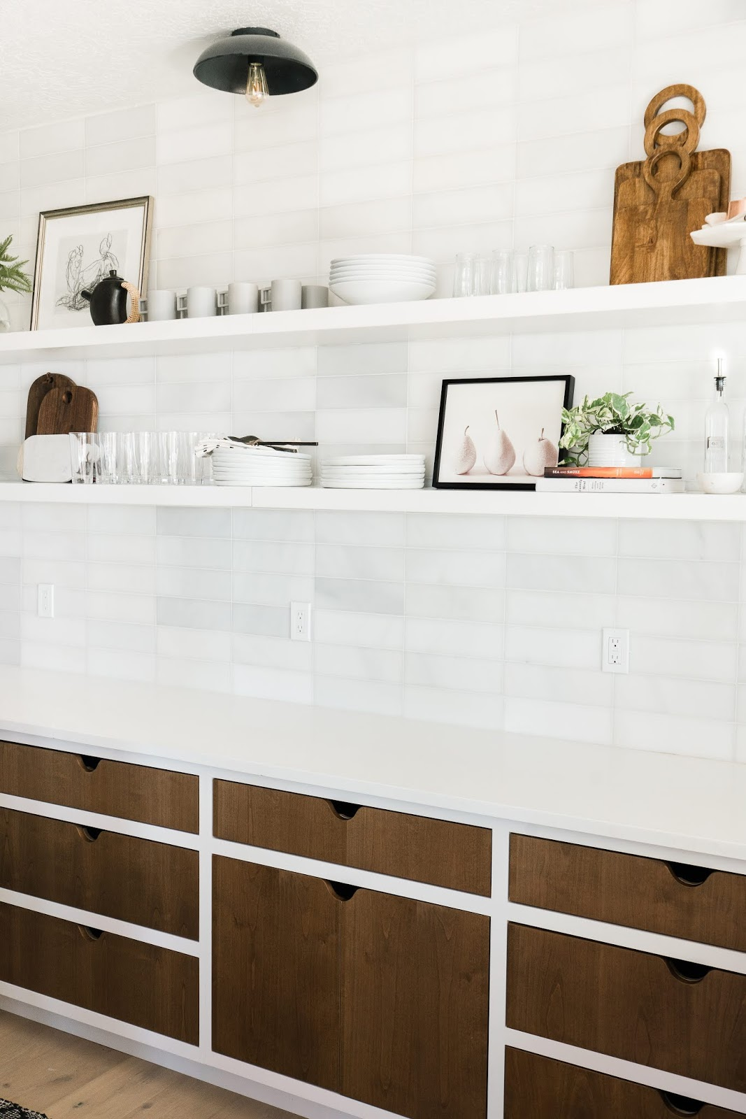 White Backsplash, Wood Cabinets, Modern Pantry