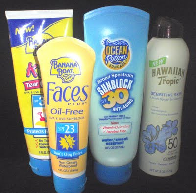 bottles of sunscreen