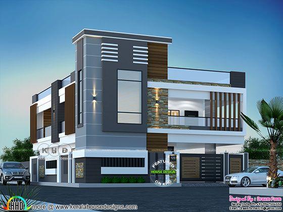 Modern duplex Kerala home design