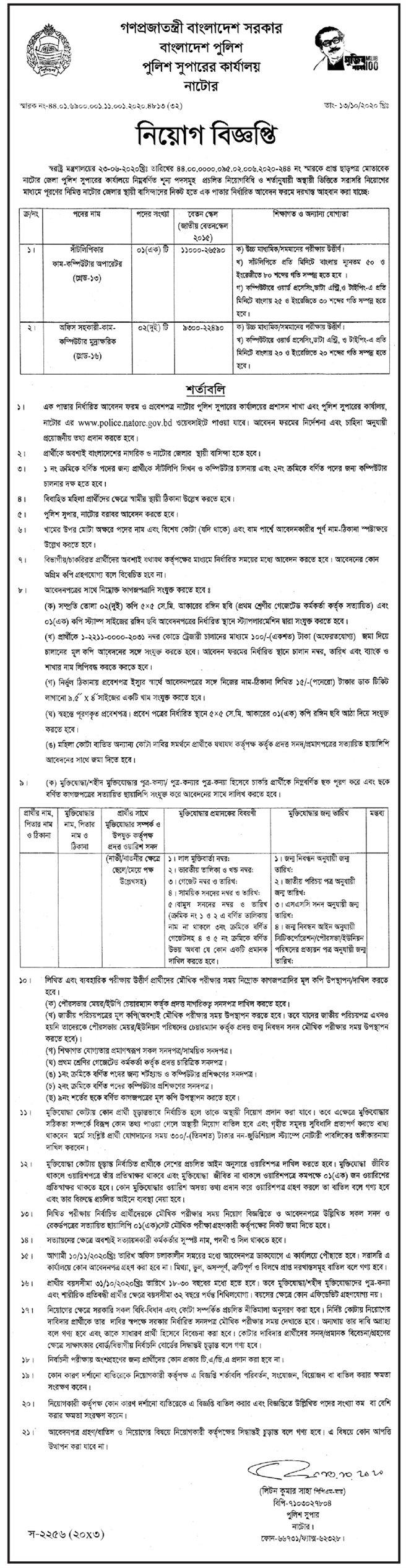 পুলিশ সুপারের কার্যালয় ঝালকাঠি নিয়োগ বিজ্ঞপ্তি - Police Superintendent's Office Jhalokati Recruitment Circular