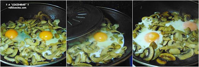 Champiñones salteados con huevo