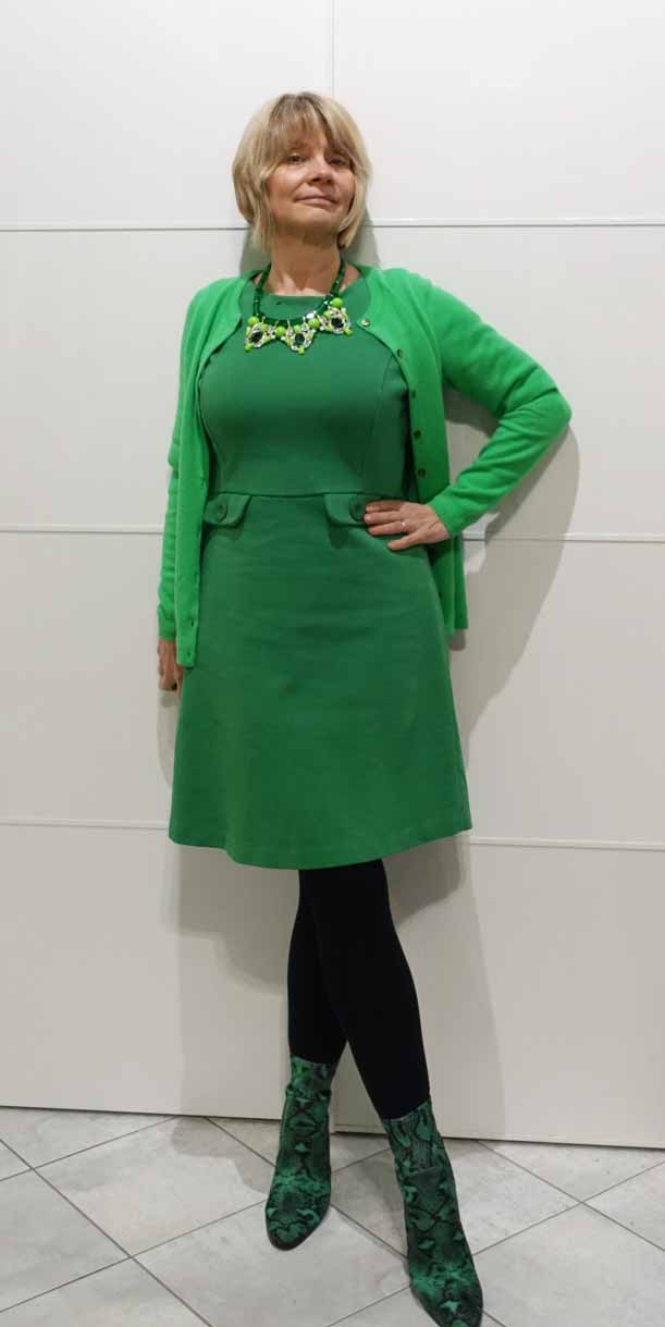 Add some edge to a plain green shift dress with green snakeskin boots, as worn by over-50s style blogger Gail Hanlon from Is This Mutton