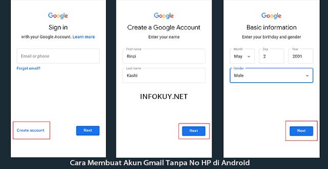 Cara Membuat Akun Gmail Tanpa No HP di Android #2