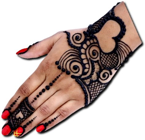 Heart Mehndi Design for Back Hand