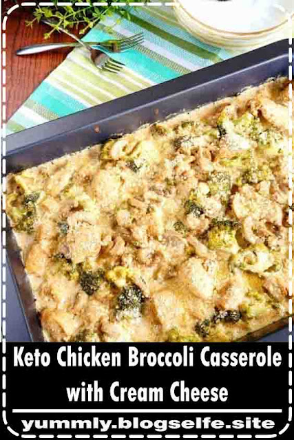 A very quick to prepare low carb chicken broccoli casserole with cream cheese. It's made completely from scratch without relying on a canned soup base.  #casserole #lowcarb #keto