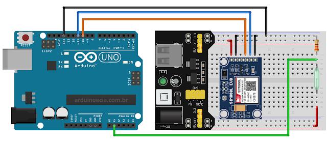 Circuito Arduino Uno e SIM800L