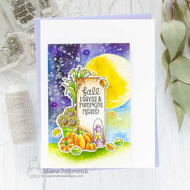 Fall Wooden Sign Night Scene Card by Tatiana Trafimovich | Signs of Fall Stamp Set by Newton's Nook Designs #newtonsnook