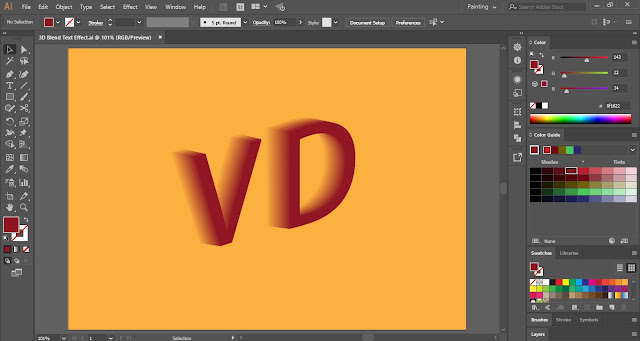 3D Blend Text Effect in Adobe Illustrator