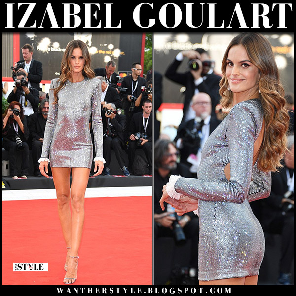 Izabel Goulart in silver sparkly mini dress philosophy di lorenzo serafini venice film festival 2018