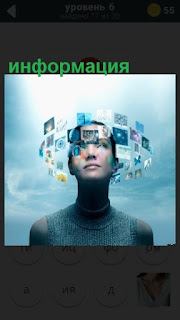 вокруг головы человека вращается различная информация на снимках