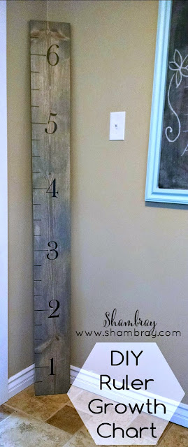 Make your own wooden growth chart that looks like a ruler.  Step-by-step instructions included.