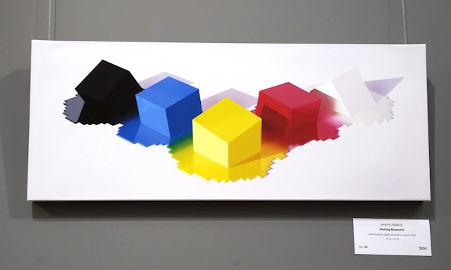 This digital artwork depicts geometrical shapes - 5 rhomboid shapes 'melting' into the white background. Each shape is a solid colour and the colours are typical of Lego bricks - black, blue, yellow, red and white. The 'melted' sections have rectangular edges as if they were created with flat rectangular tiles.
