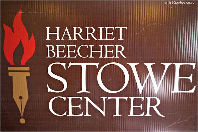 Cartel de la Casa Museo de Harriet Beecher Stowe en Hartford, Connecticut
